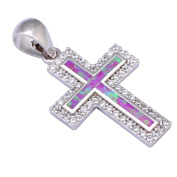 Divine womens fashion cross 925 stamp Silver Colour Pink opal White Topaz silver pendant for women jewellery P015