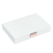 LIMITED EDITION White Classic Lidded STACKER Jewellery Box with Rose Gold Fittings