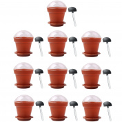 10 PCS Home Household Party Flower Pot Shape DIY Baking Jelly Cake Yoghurt Mousse Storage Transparent Cup Holder with Lid and Shovel Coffee
