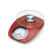 66229 Soehnle Vintage Style dual digital / analogue weighing kitchen scale - red, up to 5kg, 5 year warranty