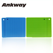 Silicone Pot Holder Pack 4, Ankway Insulation Pot Holders Silicone Mat, Non-slip Kitchen Heat Resistant Mat Kitchen Pot Holders, Silicone Trivet for Kitchen, Microwave and Dishwasher Safe, Green/Blue