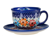 Classic Boleslawiec Pottery Hand Painted Ceramic Cup and Saucer 200ml 033-U-004