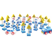 DINGANG® Traffic Signs and Vehicles,Children's Educational Wooden Toys