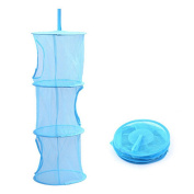 Highdas Hanging Mesh Net Storage Organiser with 3 compartments - Perfect for Kids Toys Games Teddys Bedroom Wardrobe,Blue