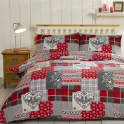 Alpine Patchwork 100% Brushed Cotton Flannelette Heart Quilt Duvet Cover and 2 Pillowcase Bedding Bed Set, Red/Multi-Colour, Double
