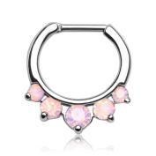 Gekko Body Jewellery 5 Prong Pink Opalite Septum Clicker Nose Daith Surgical Steel