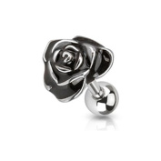 Surgical Steel Enamel Black Rose Tragus / Cartilage Bar / Earring
