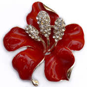NEW 4.8cm LARGE FLOWER SILVER COLOUR BROOCH BRIGHT RED HIGH GLOSS ENAMEL CLEAR RHINESTONE DIAMANTE CRYSTALS POPPY PIN BADGE BROACH UK SELLER