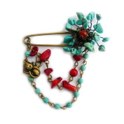 Bronze Metal Brooch Pin, Turquoise, Coral, Red Agate.