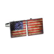 Distressed USA American Split-Flag Cufflinks X2BOCS216