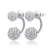 Butterme Womens 925 Sterling Silver Crystal Front and Back Earrings