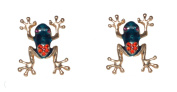 Cute Tree Frog Stud Earrings with Crystals and 925 Sterling Silver Posts (Gift Pouch Included) Kitsch Unusual Jewellery