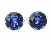 6mm Sapphire Crystal Stud Earrings Made With Sterling Silver and. Crystals by Black Moon