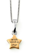 D for Diamond Rhodium and Gold Plated Wish Upon A Star Pendant & Chain P4311