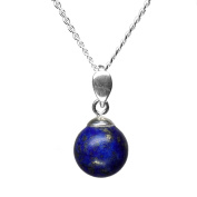 10mm Genuine Dark Blue Lapis Lazuli Bead / Ball 925 Sterling Silver Pendant + 45 Cms Chain / Necklace