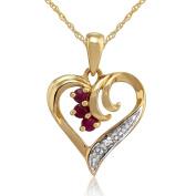 Gemondo Ruby Heart Pendant, 9ct Yellow Gold 0.13ct Ruby & Diamond Pendant on 45cm Chain