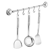 MaxHold No-drilling/Stainless Steel Towel / Utensil Rack with Adjustable Hooks- Vaccum System - Suction Cup - Stainless Steel Never Rust - for Bathroom & Kitchen