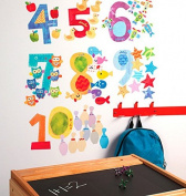 Wallies Counting Numbers Decals Wall Play Peel and Stick Decor , Multi-Colour