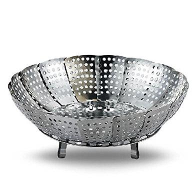 Newsky Stainless Steel Foldable Steamer Draining Basket Fruit Platter