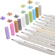 Metallic Marker Pens Brush Pens Set for DIY or Card Making, Pack of 10, Assorted Colours