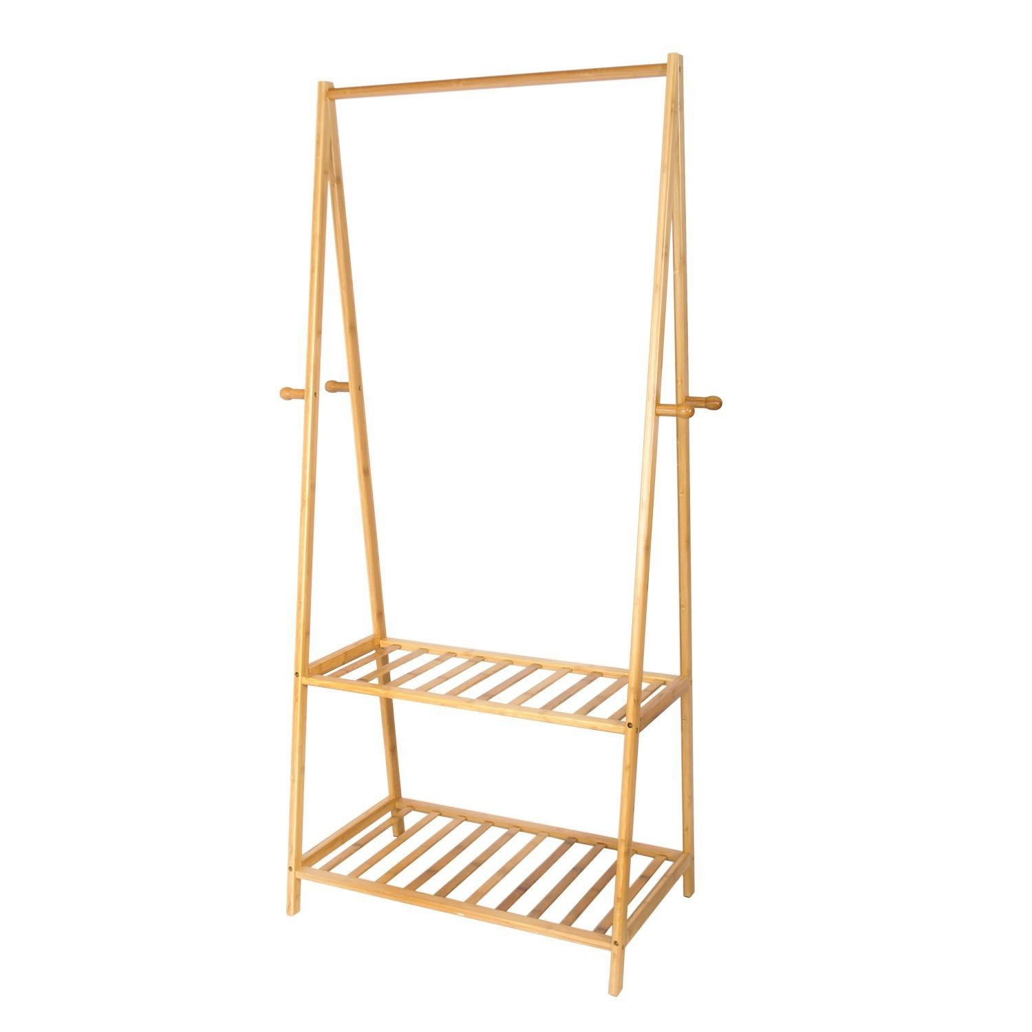 Coat stand hapilife multifunctional wooden garment rack stand with 4 clothes hooks and 2 tier shoe clothes storage rack shelves 158 x 70 x 44cm by hapilife