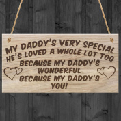 Red Ocean My Daddy's Very Special H'es Loved A Whole Lot Too Because My Daddy's Wonderful Because My Daddy's You! Fathers Day Father Love Plaque Hanging Wooden Sign Dad Gift