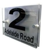 House Number Sign/Plaque Brushed Aluminium & Acrylic by Custom GOS6569