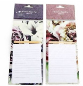 Flower Design Magnetic Memo Pad With Pencil Shopping List Fridge Magnet Note Vintage Gift Planner Easy Decoration Message Board