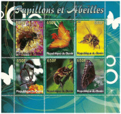 Collectable sheetlet of 6 stamps of bees and butterflies issued in 2007 Benin / Mint and unmounted