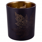 Large Straight Gold Leaf Pattern Tealight Candle Holder Vase - Large Leaves