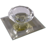 Silver Sparkle Lines Glass Diamond Single Tealight Holder - Yellow