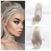 Kylie Jenner Heat Resistant Fibre Hair mermaid Silky straight grey Synthetic lace front wig for women.