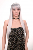 Golden Rule 2 Tones Synthetic Hair Long Straight Flapper Heat Friendly Cosplay Party Costume Hair Wig