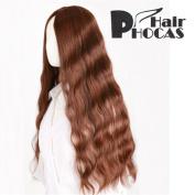 HairPhocas® Midsplit Long Brown Curly Hair For Full Hair Wigs