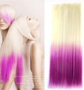 60cm Straight White Blonde to Purple Two Colours Ombre Hair Extensions, One Piece Full Head Hair Weft RHS612