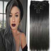 Neverland Beauty 60cm Synthetic Straight Two Tone Ombre Hairpiece Hair Extensions 3/4 Full Head Clip 4 Colours