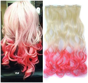 White Blonde to Pink Two Colours Ombre Hair Extension, Synthetic Hair extensions UF272