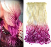 White Blonde to Fuchia Two Colours Ombre Hair Extension, Synthetic Hair extensions UF271
