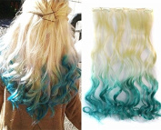 White Blonde to Aqua Two Colours Ombre Hair Extension, Synthetic Hair extensions UF268