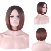 """Rise World 13 """" 32 cm Women's Short Bob Carve Full Hair Wig Two Tone Brown Dark Root to Wine Red Ombre"""
