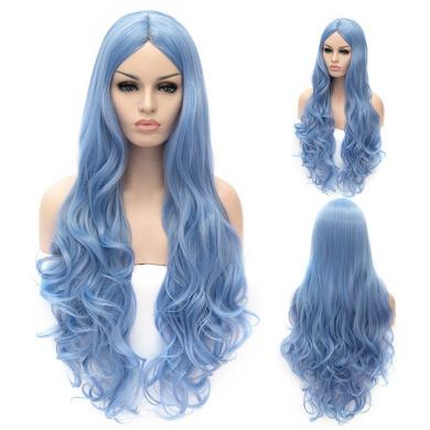 Women's 80cm Cosplay Wig Long Wavy Heat Resistant Synthetic Wig (Sky Blue)