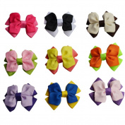 Bzybel Boutique Small Hair Clips Grosgrain Ribbon Bows for Baby Kids Barrettes