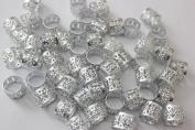 48PC Dreadlocks Beads Aluminium Cuffs Hair Decoration Filigree Tube 10mm