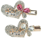 Jewelled Heart & Butterfly Hair Clips Gold Metal with Decorative Pink Clear Rhinestone Crystals - Set of 2