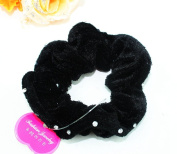 Lovef Korean Rhinestone Womens Large Black Velvet Hair Elastic Scrunchie Effortless Beauty Velour Comfy Twister, 3-Count