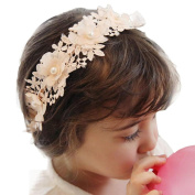 Fullkang Baby Girls Headband Lace Hairband Girls Pearl Flower Headbands