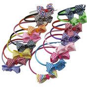 XIMA Chevron Hair Bows with Satin Headbands for Baby and Girls Pack of 15