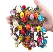 TOPWEL 8pcs Bohemian Love Flower Garland Crown Headband
