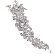 EVER FAITH® Women's Austrian Crystal 20cm Elegant Flower Wedding Hair Side Comb Clear Silver-Tone