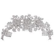 EVER FAITH® Women's Austrian Crystal Big Bridal Flower Cluster Hair Side Comb Clear Silver-Tone